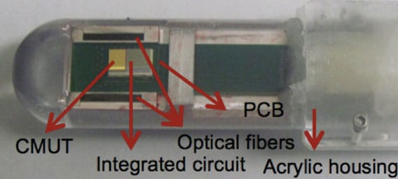 Figure 1. Photograph of the transrectal ultrasound and photoacoustic-imaging instrument currently used for prostate cancer imaging. The capacitive micromachined ultrasound transducer (CMUT) array is flip-chip bonded to a custom-designed integrated circuit that comprises the front-end circuitry for the transducer elements. The CMUT and integrated circuit are flip-chip bonded and placed on a PCB (printed circuit board). The PCB is rested in between two parallel fiber optic light guides that focus light 0.5 inches above the CMUT surface.